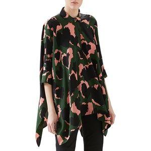 GUCCI Silk Leaf Print Cape Shirt Blouse